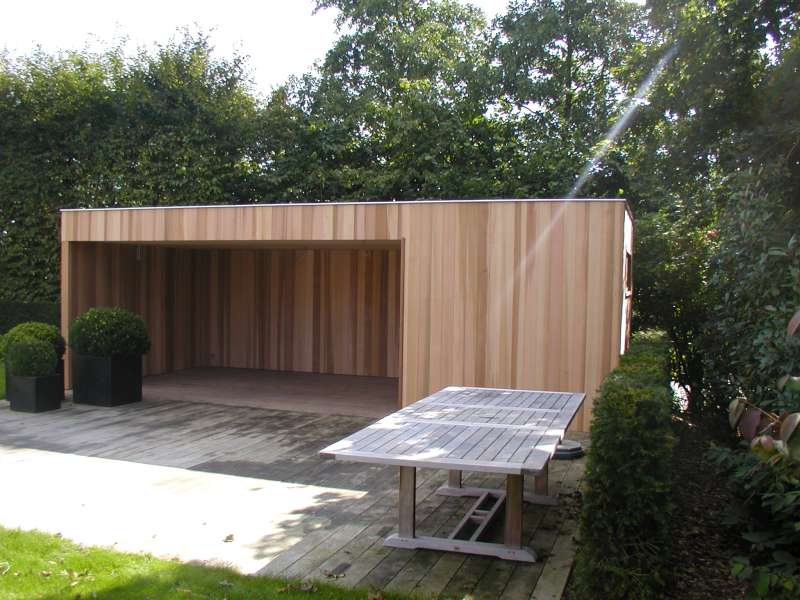 Tuinhuis kubus modern daniel decadt houten constructies houthandel proven - Moderne lounge stijl ...
