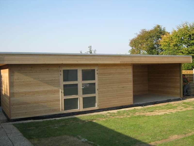 Abris toit plat daniel decadt houten constructies houthandel proven - Abri de jardin bois original limoges ...